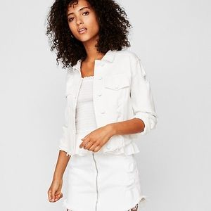 Express white denim jacket distressed